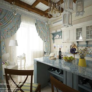 Интерьер кухни с островом в стиле прованс
