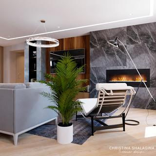 Гостиная с камином в современном стиле
