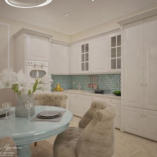 Гостиная-кухня с голубыми акцентами