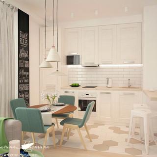 Гостиная-кухня в скандинавском стиле