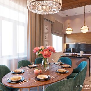 Интерьер столовой-кухни