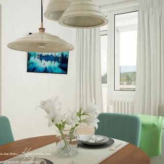 Гостиная и столовая зона в скандинавском стиле