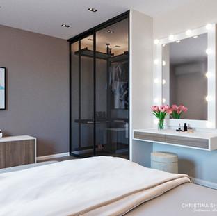Вид на гардеробную в спальне