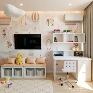 Интерьер детской в пастельных тонах