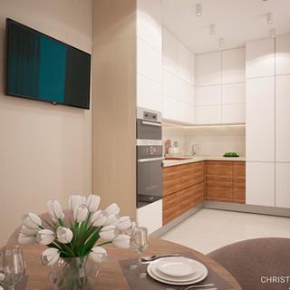 Кухня и столовая зона в современном стиле.