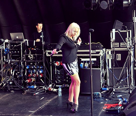 On stage at Grimsby Pride.