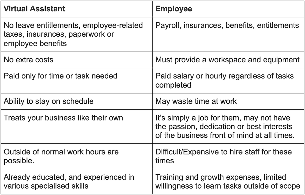 difference between hiring a VA or an employee