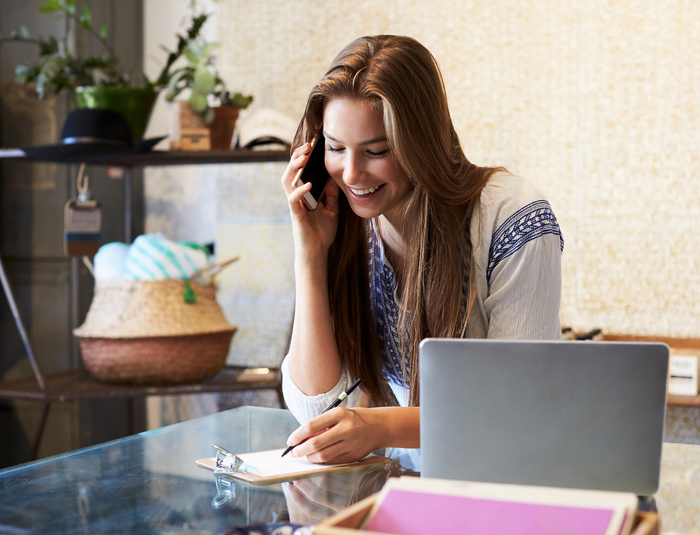 Girl working at her desk