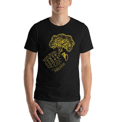 Unisex T-Shirt - Holistic Militia Logo - Yellow