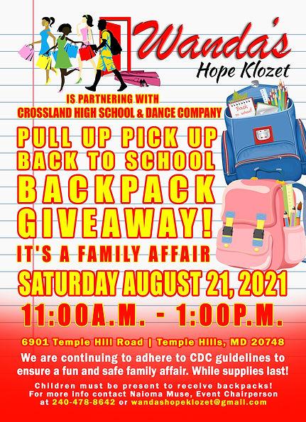 Wanda's Hope Klozet Back Pack Give Away Event