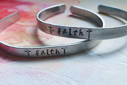 SILVER Faith Hand Stamped Bracelet