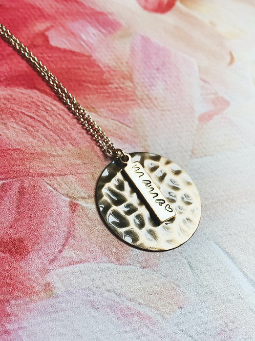 GOLD Hand Stamped Mama 16 inch Necklace