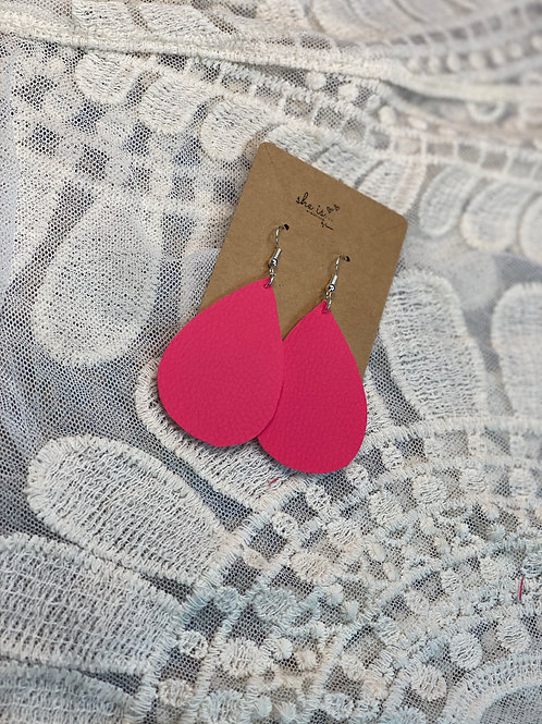 Hot Pink Faux Leather Earrings