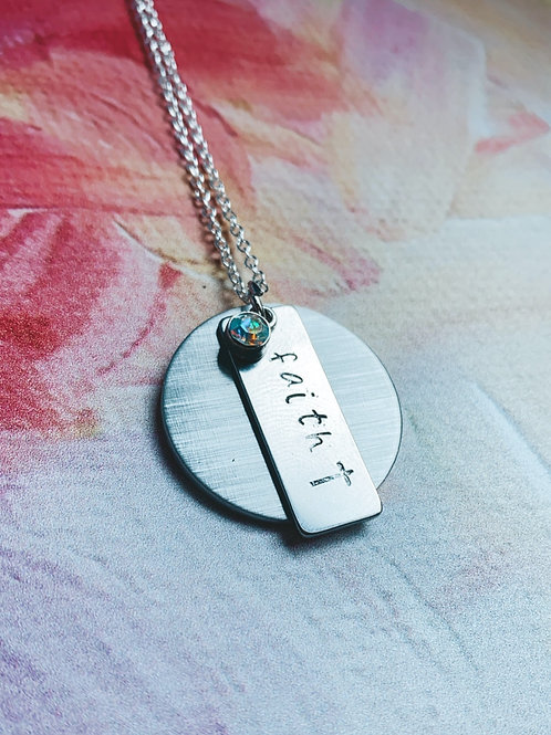 SILVER Faith Hand Stamped Necklace