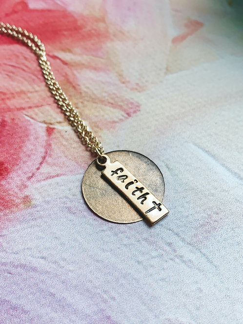 GOLD Faith Hand Stamped 16 Inch Necklace
