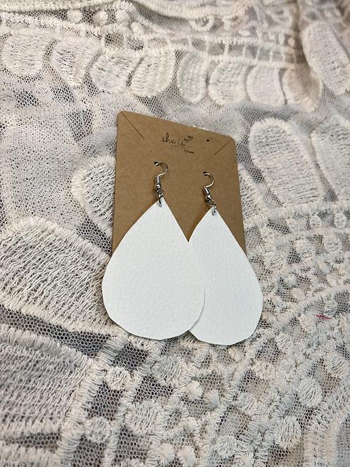 White Faux Leather Earrings