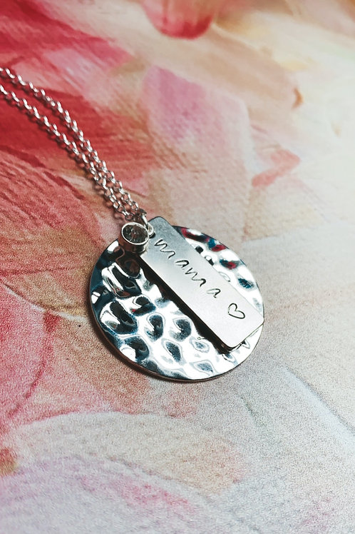 SILVER Hand Stamped Mama 16 Inch Necklace