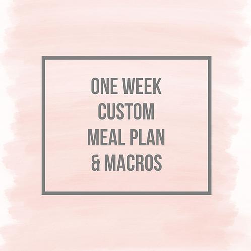 One Week Custom Meal Plan With Macros