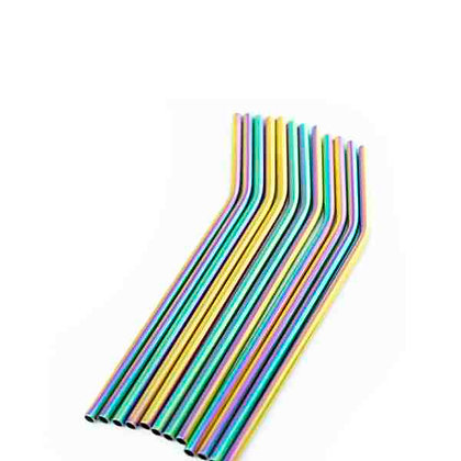 Rainbow colour metal straw