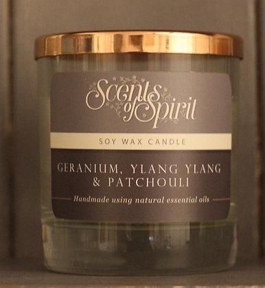 Geranium, Ylang Ylang & Patchouli Soy Wax Candle