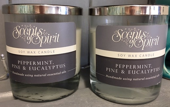 Peppermint, Pine & Eucalyptus Soy Wax Candle