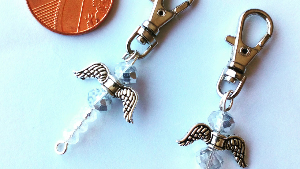 Guardian Angel Bag Charm with Crystal Beads