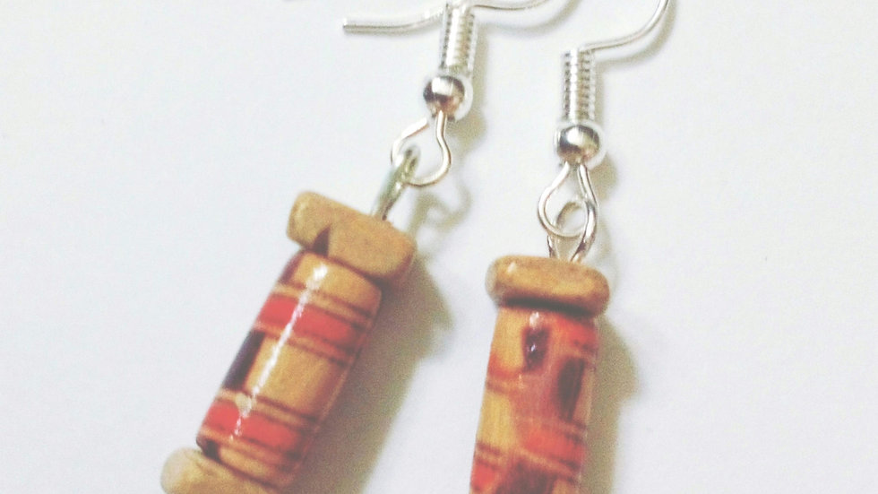 Handmade Earrings with Wooden Beads