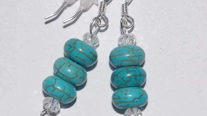 Handmade earrings with turquoise howlite beads and Sterling Silver 925