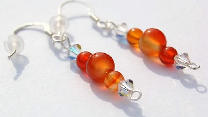 Dyed Orange Agate Gemstone and Crystal Handmade Earrings
