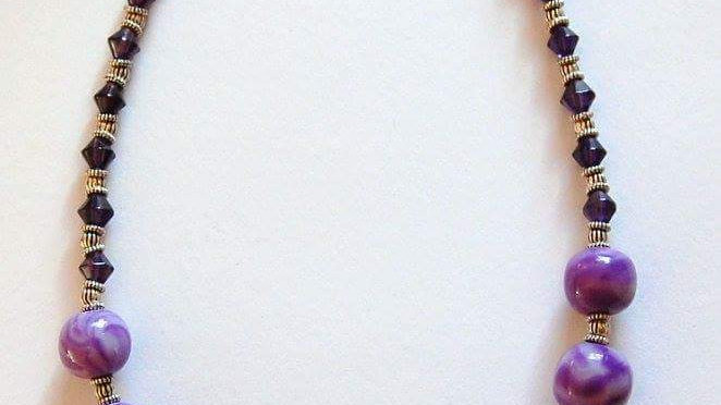 OOAK Handmade necklace with handmade polymer clay beads