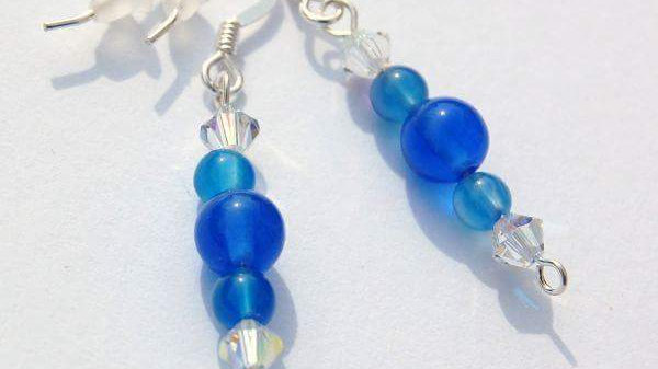 Dyed Blue Agate Gemstone and Crystal Handmade Earrings