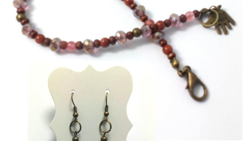 OOAK Handmade Gemstone and Swarovski Crystal Bracelet and Earrings