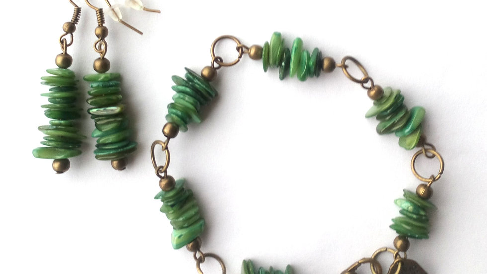 Handmade Bracelet and Earrings with Olive Green Shell Pieces