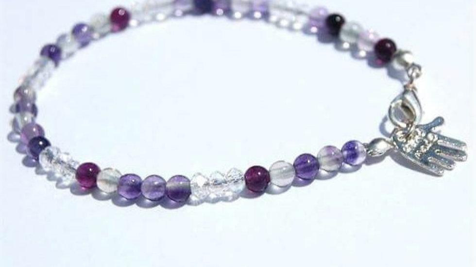 Fluorite Gemstone and Crystal Handmade Bracelet