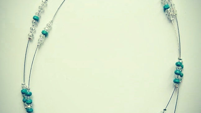 OOAK Necklace with turquoise howlite and crystal beads