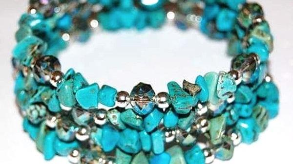Turquoise Gemstone & Swarovski Crystals Coiled Bracelet