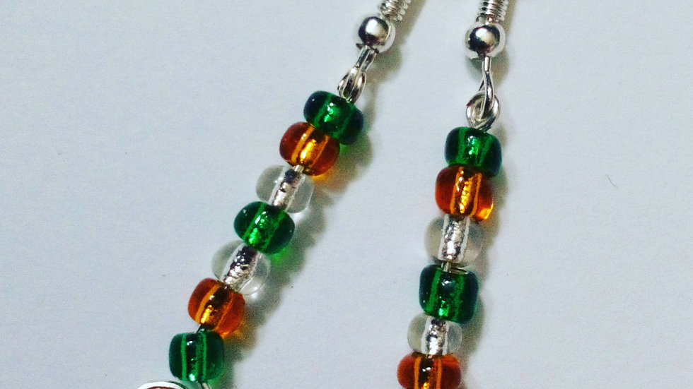 Handmade Earrings with Green and Gold Glass Beads