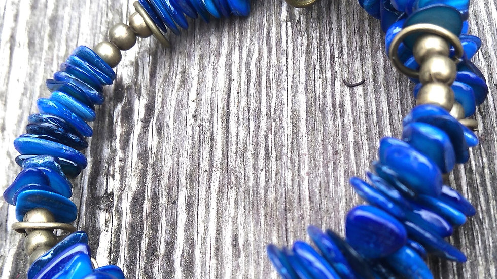 Blue Dyed Shell and Bronze Plated Coiled Bracelet