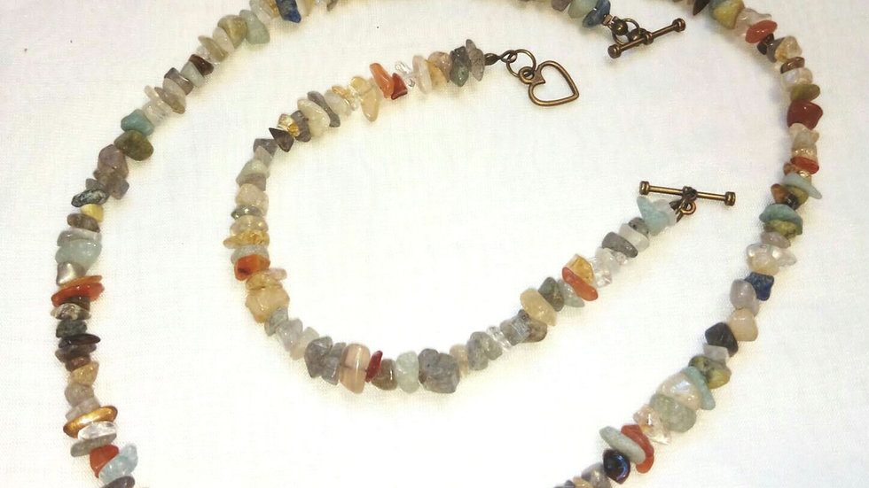 Mixed Gemstone Necklace and Bracelet Set