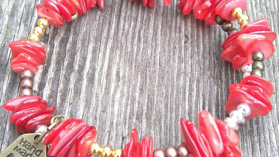 Red Dyed Shell and Mixed Metal Beads Coiled Bracelet