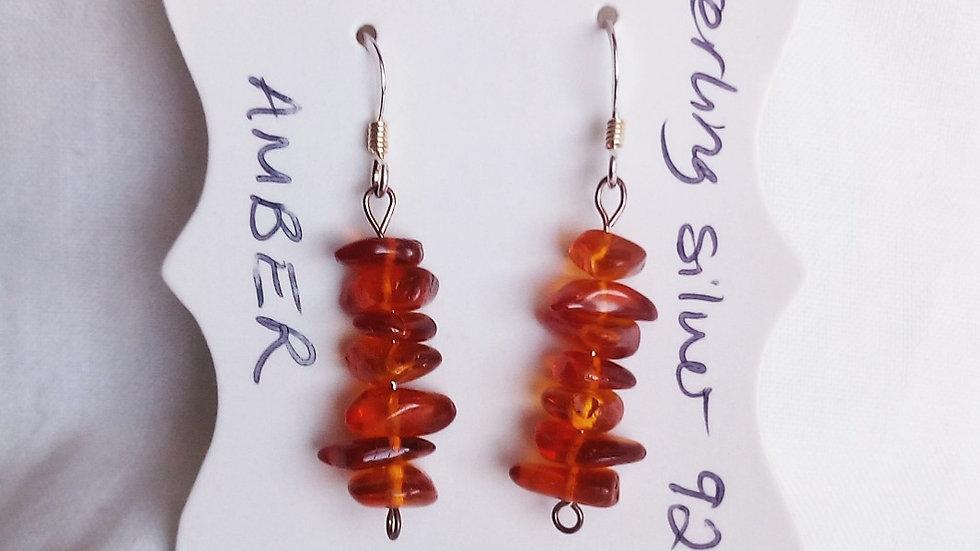 Handmade earrings with amber gemstone