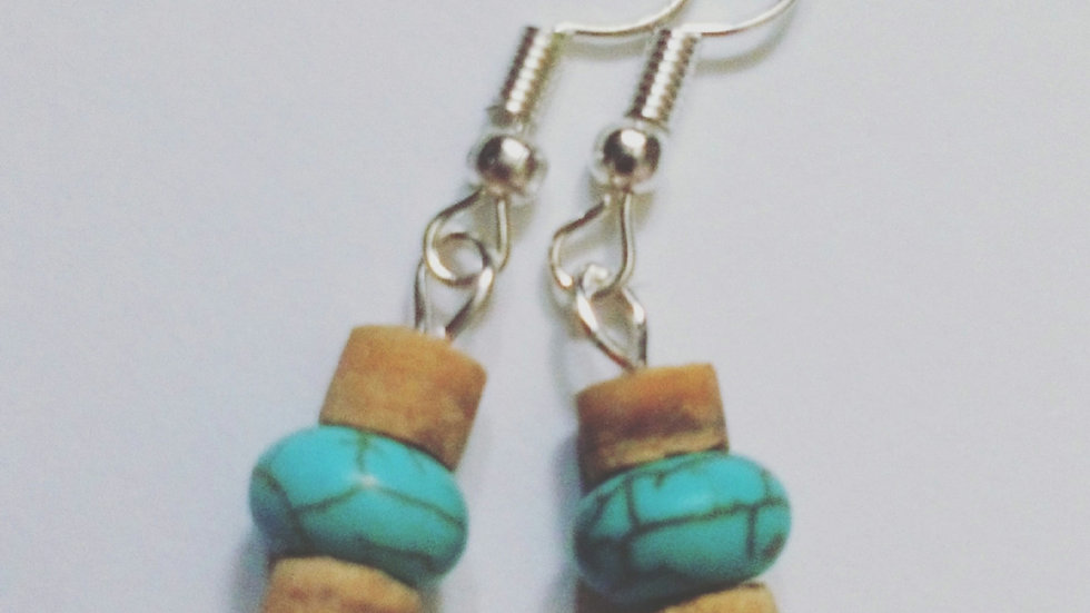 Handmade Earrings with Wooden Beads and Turquoise Howlite Beads