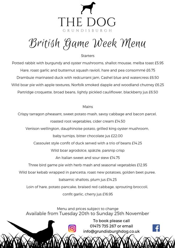 British Game Week Menu