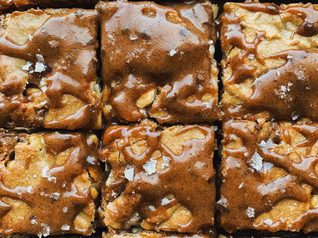 Salted Almond Caramel Blondies