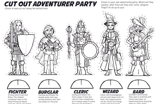 Cut out and play; Adventurer Party: Digital Download