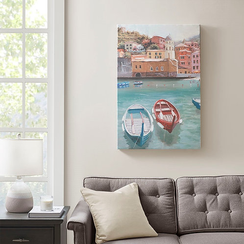 Sunny Italian Riviera Coastal Scenic Canvas with Gel Coat by Madison Park