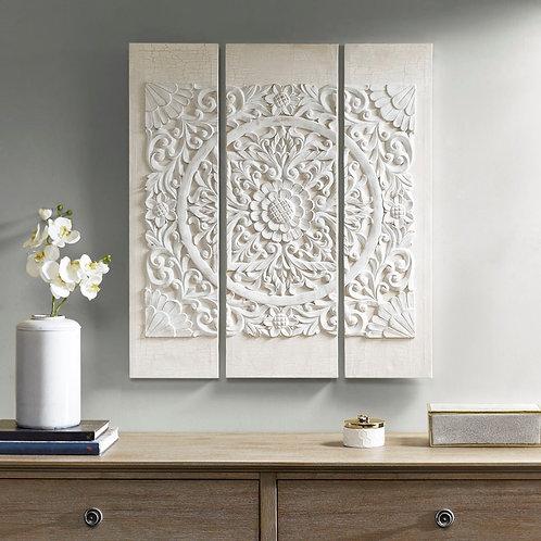 White Mandala 3D Embellished Canvas By Madison Park