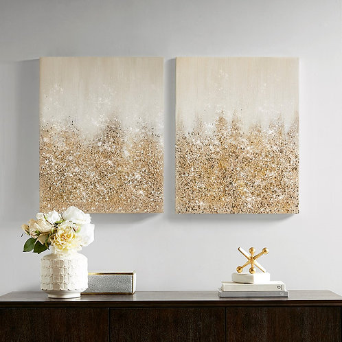 Golden Glimmer 100% Hand Brush Embellished Canvas, 2 Piece Set  By Madison Park