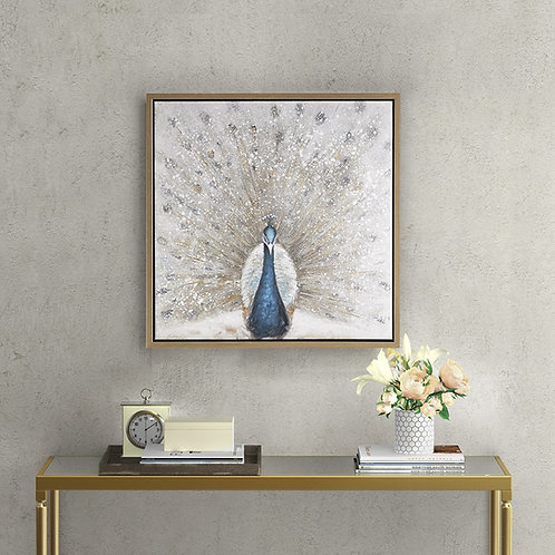 Gilded Peacock Framed Canvas with Gold Foil and Hand Embellishment