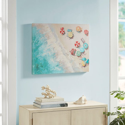 Aerial Beach Printed Canvas with Gel Coat By Urban Habitat